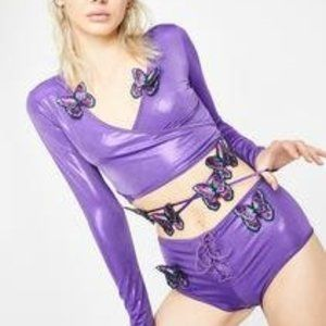 CLUBB EXX DOLLSKILL BUTTERFLY WRAP TOP PURPLE